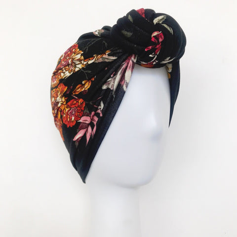 GLAM Knot Turban- Black Floral