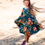 AW19 Classic High-Low Twirl Dress: Hunter Green Floral