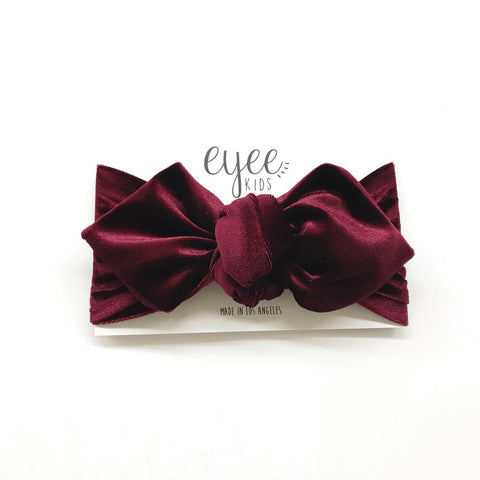 Top Knot Headband- Bordeaux Velvet