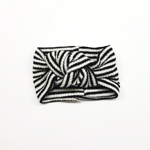 Classic Turban- Black & White Stripes