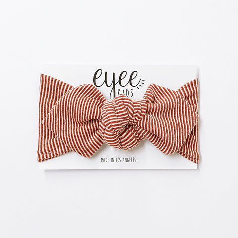 Top Knot Headband- Terra Cotta/White Stripe (Ribbed Knit)