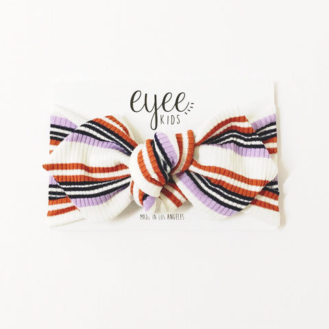 Top Knot Headband- Lavender/Rust Stripe (Ribbed Knit)