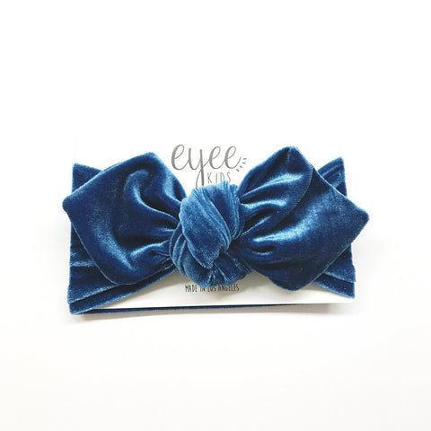 Top Knot Headband- Swiss Blue Velvet