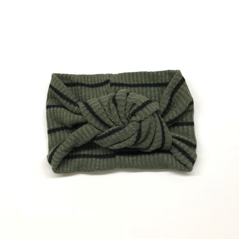 Classic Turban- Dark Sage Stripes