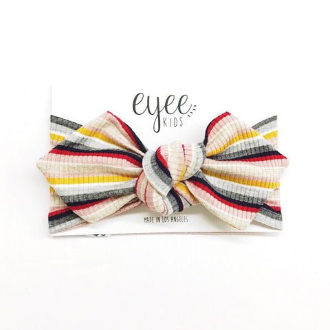 Top Knot Headband- Pink/Mustard/Red Stripe (Ribbed Knit)