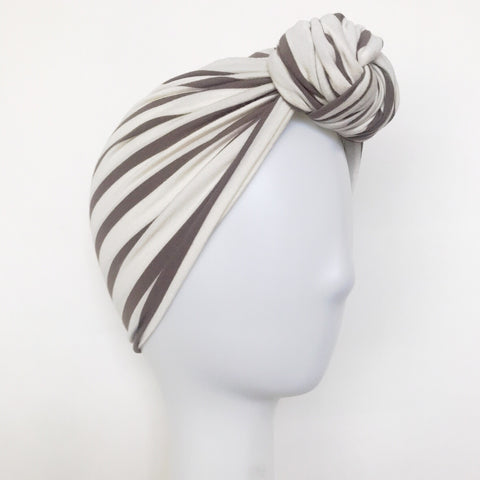 GLAM Knot Turban- Taupe/White Stripe
