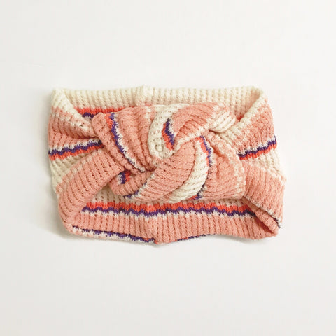 Classic Turban- Mojave Coral/Purple Stripe