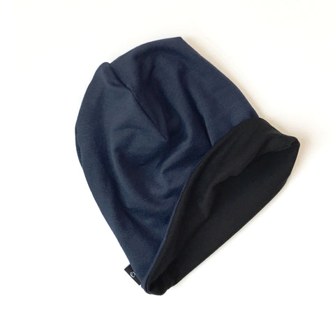 Reversible Slouchy Beanie- Solid Navy Blue & Solid Black