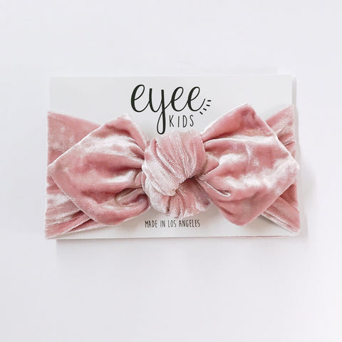 Top Knot Headband- Crushed Blush Pink Velvet