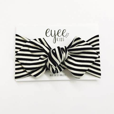 Top Knot Headband- Black & White Stripe
