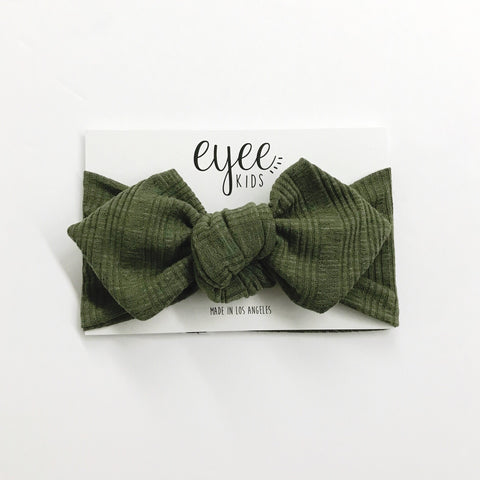 Top Knot Headband- Light Olive (Ribbed Knit)