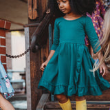 Ruffled Twirl Dress: Hunter Green