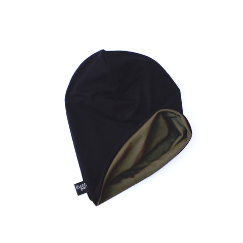 Reversible Slouchy Beanie- Solid Olive Green & Solid Black