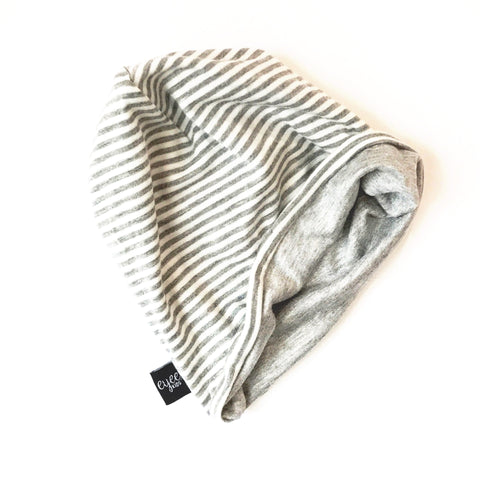Reversible Slouchy Beanie- Grey/White Stripe & Solid Grey