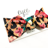 Top Knot Headband- Leopard Floral (Ribbed Knit)