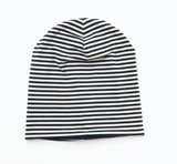 Reversible Slouchy Beanie- Navy Blue/White Stripes & Solid Navy Blue