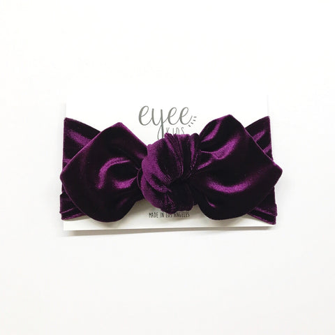 Top Knot Headband- Eggplant Purple Velvet