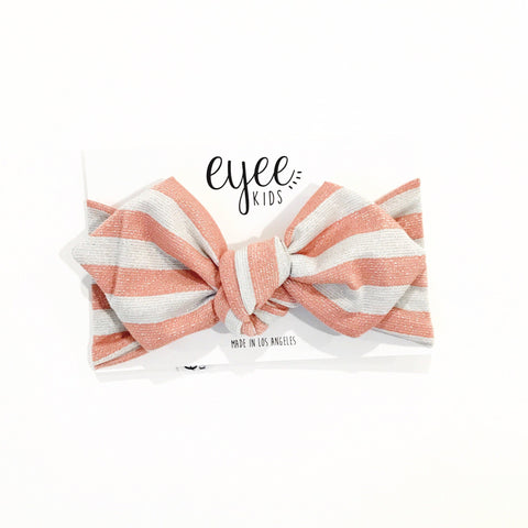 Top Knot Headband- Pink & Silver Metallic Stripe