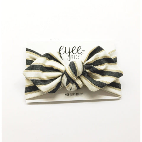 Top Knot Headband- Grey Metallic Gold Stripes
