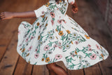 Classic High-Low Twirl Dress: White Floral