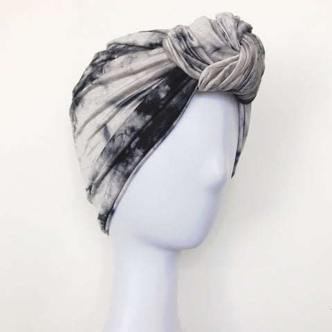 GLAM Knot Turban- Ink Tie Dye