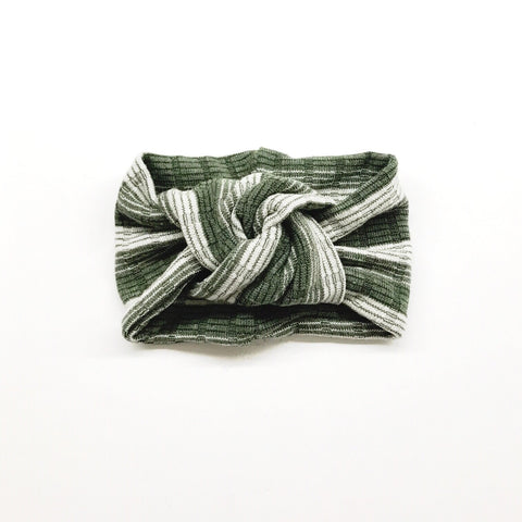 Classic Turban- Olive Ombre Stripes