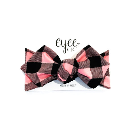 Top Knot Headband- Coral Pink Buffalo Plaid