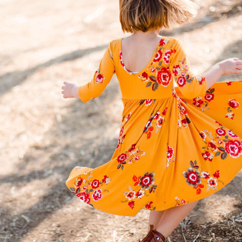 AW19 Classic High-Low Twirl Dress: Mustard Floral