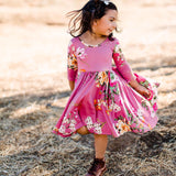 AW19 Classic High-Low Twirl Dress: Mauve Floral