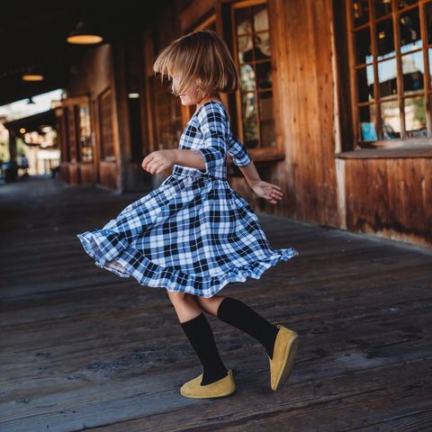 Ruffled Twirl Dress: B/W Tartan Plaid