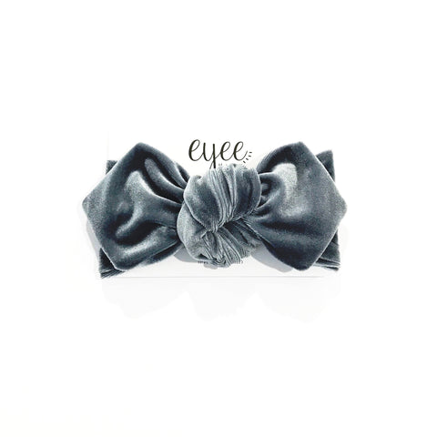 Top Knot Headband- Grey Velvet