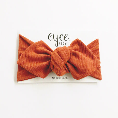 Top Knot Headband- Terra Cotta (Ribbed Knit)