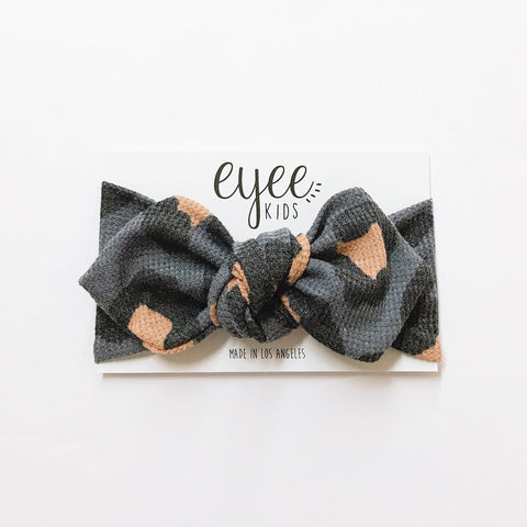 Top Knot Headband- Charcoal Leopard (Thermal)