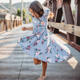 Classic High-Low Twirl Dress: Stripes & Floral