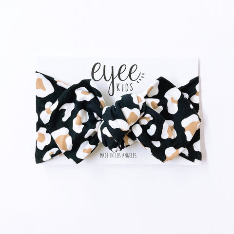 Top Knot Headband- Black/Taupe Leopard