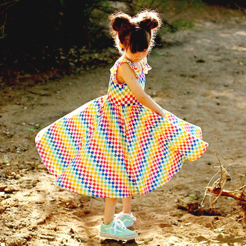 Classic Flutter Sleeve Twirl Dress: Rainbow Squares