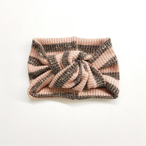 Classic Turban- Dusty Pink & Black Marled Stripe