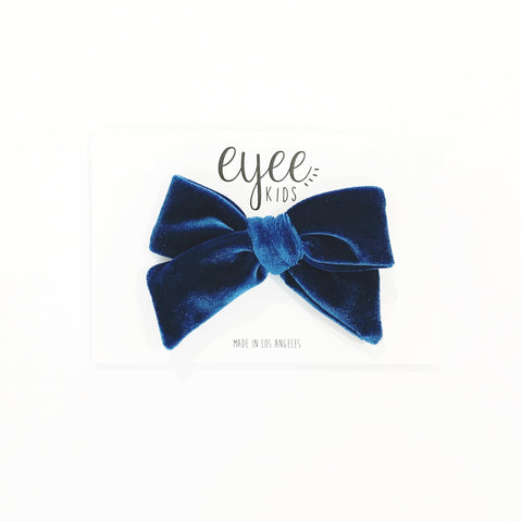 Velvet Hand-Tied Bow- Teal Blue