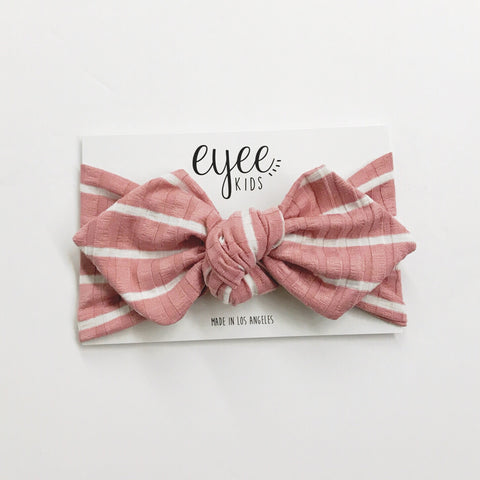 Top Knot Headband- Dusty Rose White Stripe (Ribbed Knit)