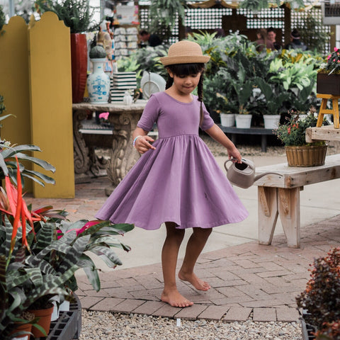 Classic High-Low Twirl Dress: Lavender Purple