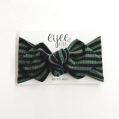 Top Knot Headband- Olive/Black Stripe (Ribbed Knit)
