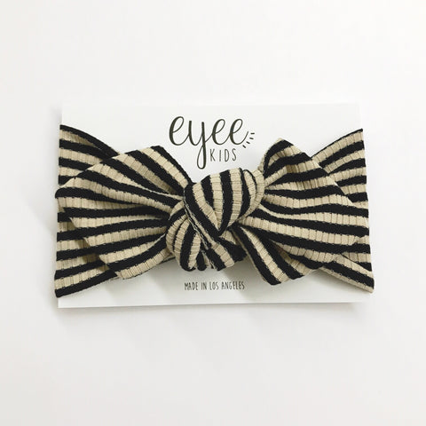 Top Knot Headband- Black/Taupe Stripe (Ribbed Knit)