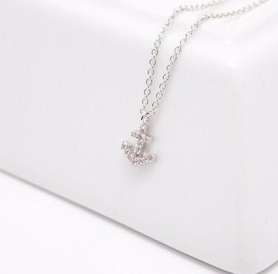 Califul: Dainty Anchor Jewel Pendant Necklace - Gold or Silver
