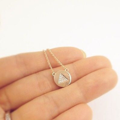 Simple Chic Gold Silver Rose Gold Tone Necklace Made in Korea - Triangle Circle