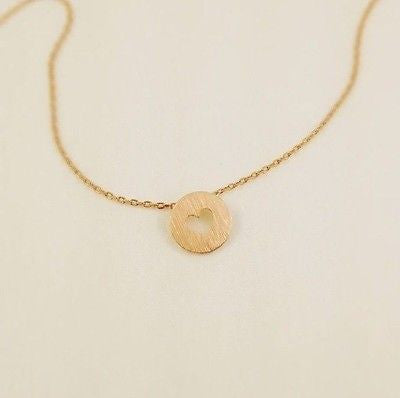 Matte Gold Rose Gold Silver White Silver Necklace Made in Korea - Small Heart