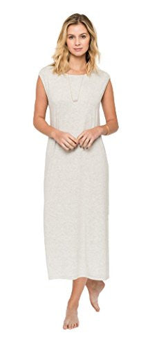Califul Solid Knit Midi Dress with Left-Side Slit - Beach Summer Casual (Small) - Grey Color