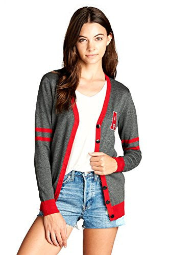 Califul Women Vintage Classic Button Down Varsity Cardigan