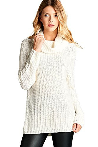 Califul Women Oversized Turtleneck Loose-fit Long Cowl Neck Pullovers Sweater