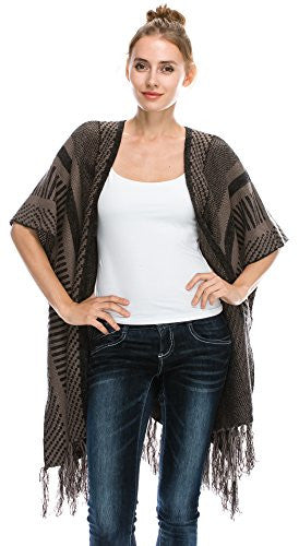 Women Oversized Open Front Blanket Poncho Sweater Shawl Cardigans