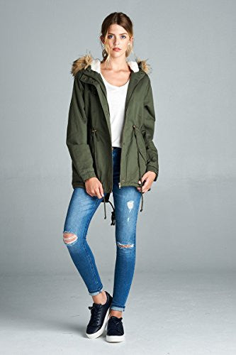 Anorak Lightweight Utility Army Military Jacket Parka Drawstring with Faux fur